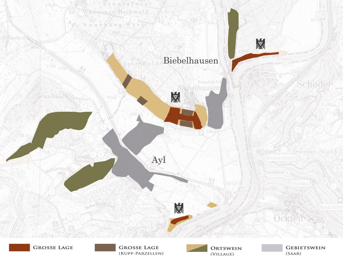 Weinlagen des Weinguts Peter Lauer an der Saar - Karte